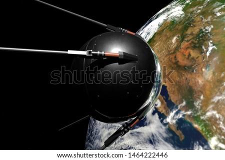 Satellite Sputnik 1 in space against the earth. 3d rendering.