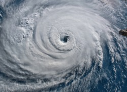 Satellite view. Hurricane Florence over the Atlantics close to the US coast . Elements of this image furnished by NASA.