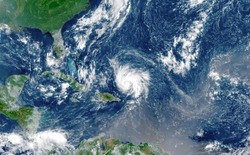 Satellite view of an hurricane approaching to USA.Elements of this image furnished by NASA.