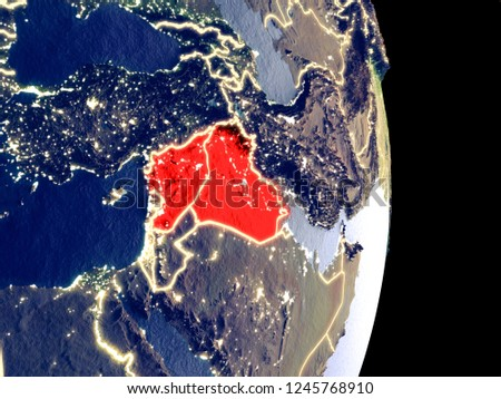 Satellite view of Islamic State at night with visible bright city lights. Extremely fine detail of the plastic planet surface. 3D illustration. Elements of this image furnished by NASA.