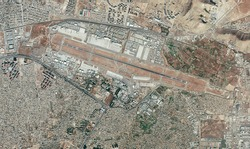 Satellite view of Kabul airport, Hamid Karzai International Airport, houses, streets and buildings. Evacuation of refugees, Afghanistan. Element of this image is furnished by Nasa