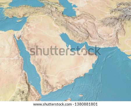 Satellite view of the Arabian Peninsula. Map. Saudi Arabia, Yemen, Oman, United Arab Emirates, Syria, Iran, Iraq, Qatar, Kuwait, Turkey. Elements of this image are furnished by Nasa. 3d rendering