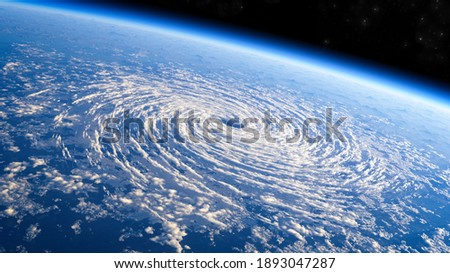 Satellite view of the eye of the storm, tropical storm. Formation of hurricanes. Atmospheric pressure. Meteorology. Climate change and global warming. Destructive air vortex. 3d render. Typhoon