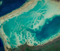 Satellite view of the islands north of Fiji, Oceania. Nature aerial view. Element of this image is furnished by Nasa