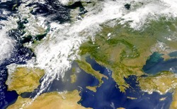 Satellite view of the Mediterranean sea and south of Europe. Italy, Spain,Portugal, Greece, Turkey, Tunicia, Algeria,Serbia, Rumanía and Balkans .Elements of this image furnished by NASA.