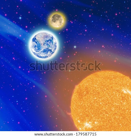 Satellite view on the Sun, Moon and Earth. Sun and Earth furnished by NASA/JPL. Stars, Milky Way and Moon are my astro-photography work.