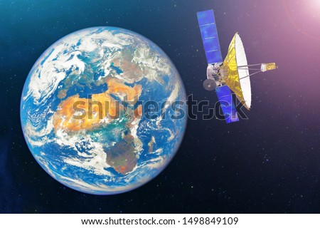 Satellite with extensive dish antenna in the geostationary orbit of the Earth, for communication and monitoring systems. Elements of this image furnished by NASA