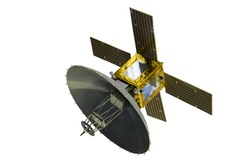 Satellite with solar panels, isolated on white background.