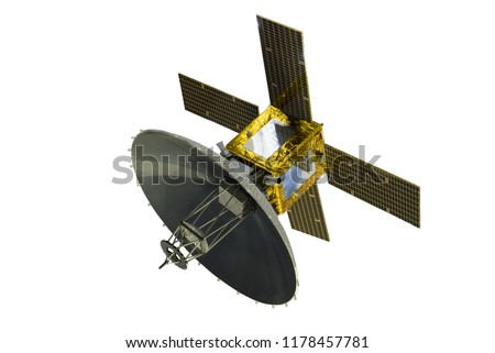 Satellite with solar panels, isolated on white background. #1178457781