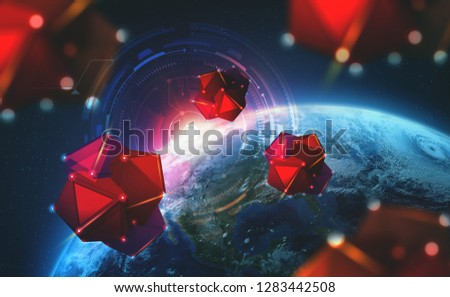 Satellites in orbit of planet Earth 3D illustration. Nano Drones explore universe. Concept of exploring space by digital civilization of future. Elements of this image furnished by NASA