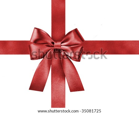 satin red ribbon bow on white background
