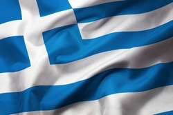 Satin texture of curved flag of Greece