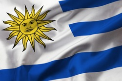 Satin texture of curved flag of Uruguay