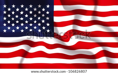 Satin USA waving flag, illustration