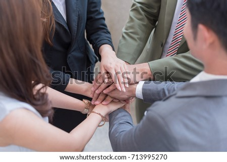 Satisfaction Multiracial Business Partners Team Trusted Partnership - People workman business in authentic join hands together  #713995270