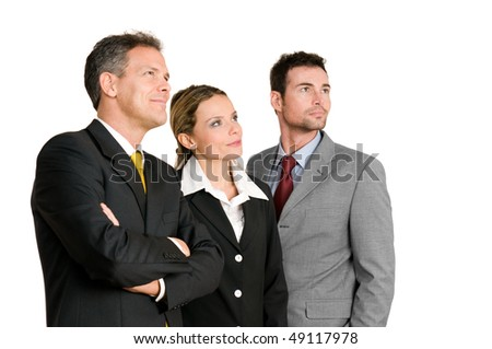 Satisfied confident business team looking away at their bright future isolated on white background