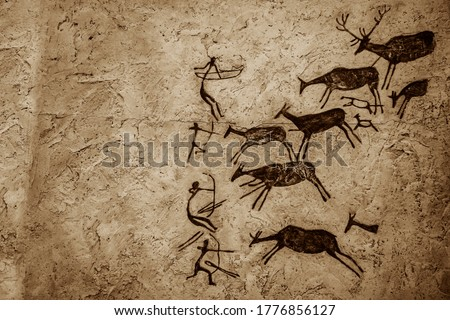 Satukunda Rock Paintings. Just 24 km fom Bhopal, Satkunda has around 5000 year old rock art. Contemporary in quality and age the world Heritage site of Bhim Baithika in the east of Bhopal. ストックフォト ©