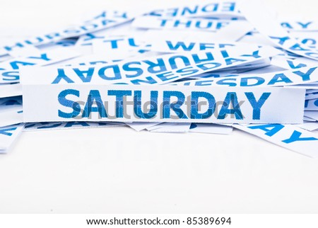 Saturday word texture background.