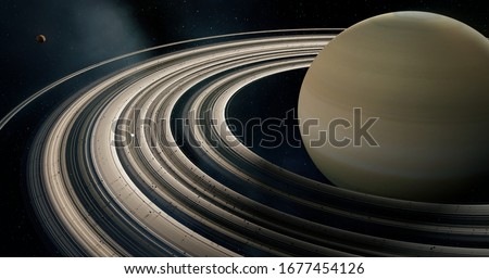 Saturn 3D and its rings, moons of Saturn, Solar System, Solar System Planets, Stars, 3D Rendering, Sky and Space, Planets Stockfoto ©