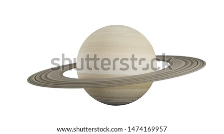 Saturn in the solar system  the Milky Way on a white background.3d rendering. Saturn is a constellation with a ring.Saturn is the sixth planet from the sun and the second largest in the solar system.