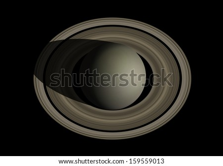 Saturn isolated in black