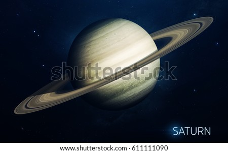 Saturn - planets of the Solar system in high quality. Science wallpaper. Elements furnished by NASA