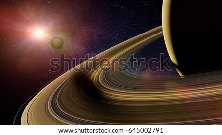 Saturn's moon Enceladus casts shadow on planet Saturn's rings (3d illustration, elements of this image are furnished by NASA)