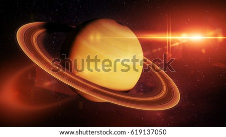 Saturn, the planet Saturn in front of the stars lit by the bright sun  (3d illustration, elements of this image are furnished by NASA)