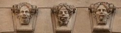 Satyr (faun) face. Sculptures 18th century in old sity