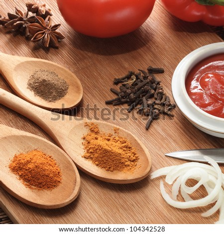 sauce ingredient on wood table