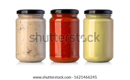 Sauce jars isolated on white background  Zdjęcia stock ©