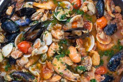 sauce with molluscs and sea crustaceans for spaghetti or pasta italy