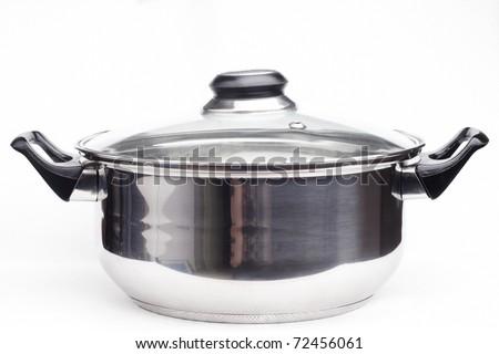 saucepan on white background