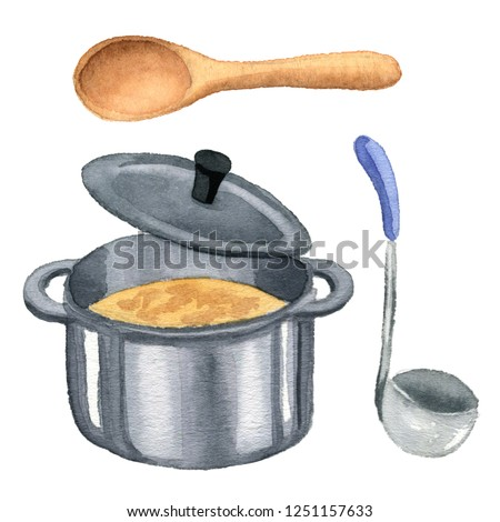 Saucepan, pan, frying-pan, ladle, spoon - watercolor hand painted illustration.