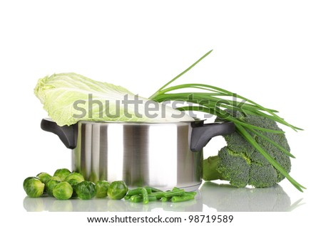 Saucepan with cabbages, broccoli and onion isolated on white