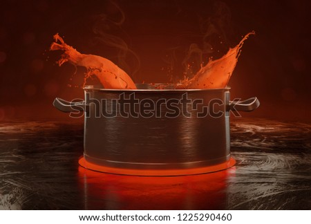 Saucepan with spurting tomato sauce (3D Rendering)