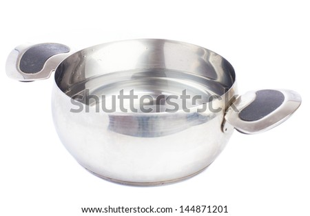 saucepan with water on isolated  on white background