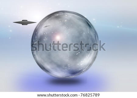 Saucer craft and translucent sphere