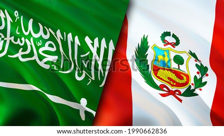 Saudi Arabia and Peru flags. 3D Waving flag design. Peru Saudi Arabia flag, picture, wallpaper. Saudi Arabia vs Peru image,3D rendering. Saudi Arabia Peru relations alliance and Trade,travel,tourism