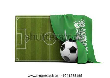 Saudi Arabia country flag draped over a football soccer pitch and ball. 3D Rendering