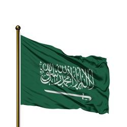 saudi arabia flag high green gold