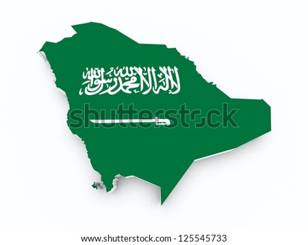 saudi arabia flag on 3d map