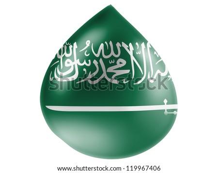Saudi Arabia flag painted on 3D water drop