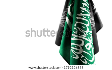 Saudi Arabia flags isolated on a white background, use it for national day and country national occasions.