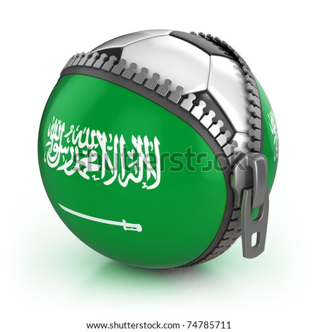 Saudi Arabia football nation - football in the unzipped bag with Saudi Arabia flag print