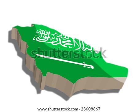 Saudi Arabia Map Flag Saudi Arabia Map And Flag