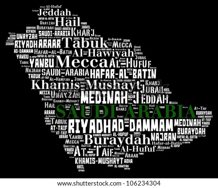 Saudi Arabia map and words cloud with larger cities