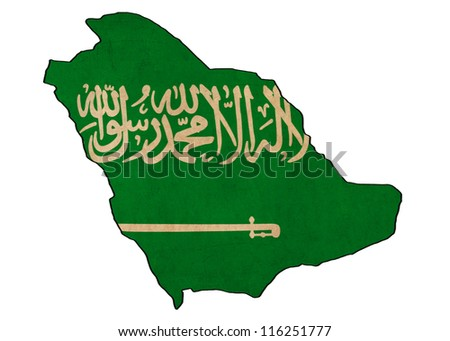 Saudi Arabia map on Saudi Arabia flag drawing ,grunge and retro flag series
