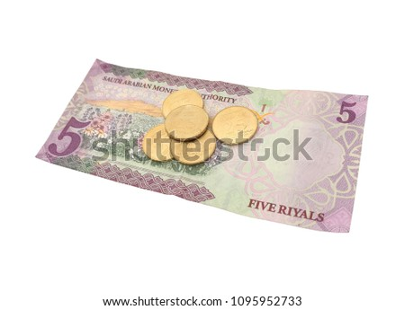 Saudi Arabia 5 riyal banknote and 25 halalas coins isolated on white background Stok fotoğraf ©
