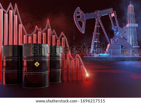 Saudi Arabia, Russia, USA oil price war. Coronavirus covid-19 impact on oil market. Oil price collapse, global economy impact 3D background: oil pump, derrick drill rig, barrels, price charts crash